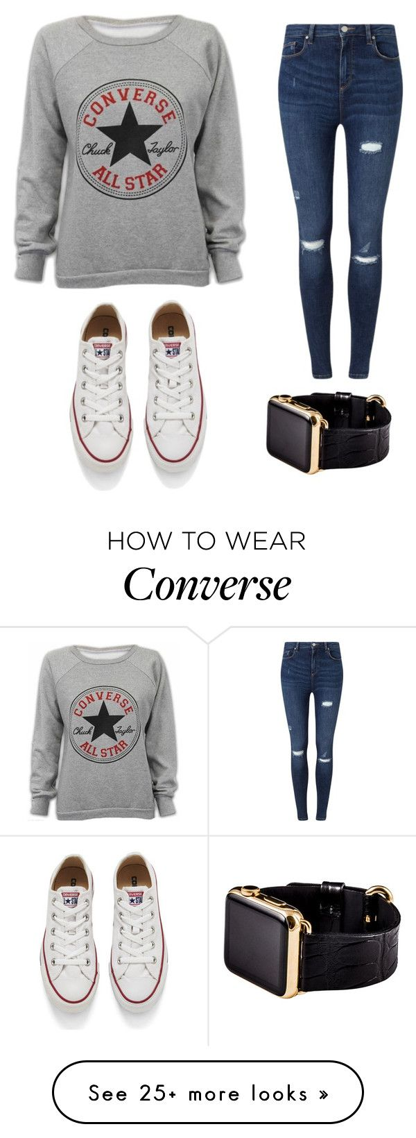 """Converse"" by softball1716 on Polyvore featuring Converse, Miss Selfridge, Hadoro, women's clothing, women, female, woman, misses and juniors"