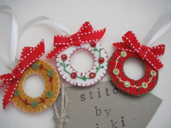 Wreaths - felt, embroidery and beads