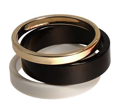 Black white and gold bangle set