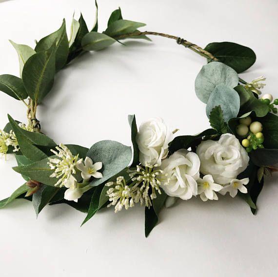 Winter Flower Crown Bridal Flower Crown Simple Green And Simple Flower Crown White Flower Crown Rose Flower Crown