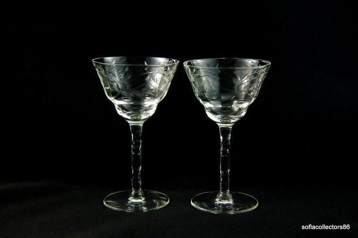 Cocktail Glasses or Liquor Glasses with Cut Leafy Flowers and Cut Stems  - 1940s (pair) by soflacollectors86 on Etsy
