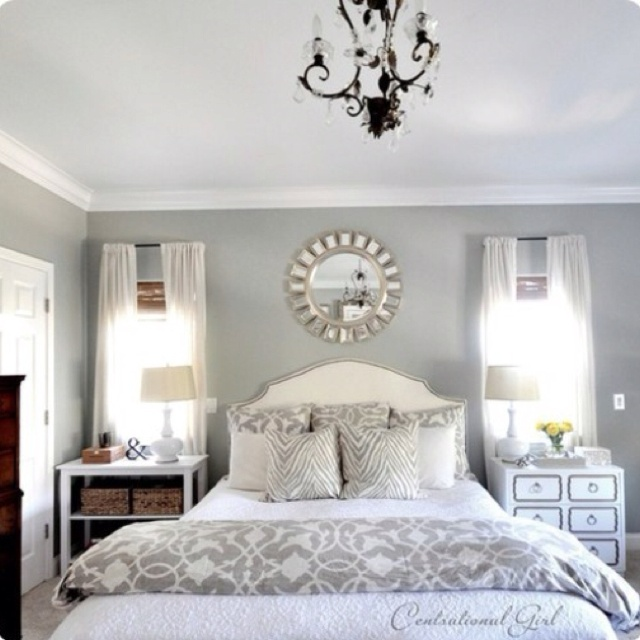 Silver And Taupe Bedroom. The Color Scheme Is Very Calming And Refreshing.