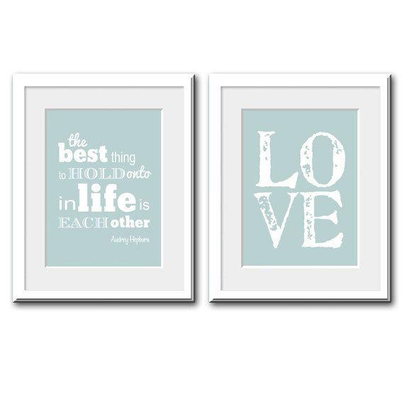 Audrey Hepburn Quote Love Print Bedroom Art by printdesignstudio
