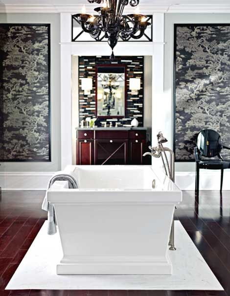 "looking at the ""his"" vanity--love the bath in the center of the rooms (yes, room(s) this bathroom is huge)"