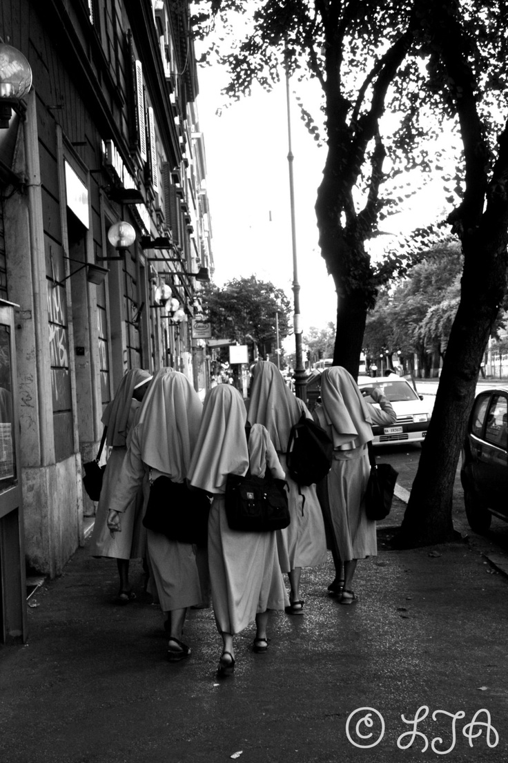 Nuns in Habit Rome - a group of nuns walking down a street Italy 10x15 fine art photograph by LJAPhotography, $30.00  A group of nuns strolled passed giggling at me when they saw my camera whilst I was on a walk about in Rome. I like the shot of them walking away, all so similar, so here it is!