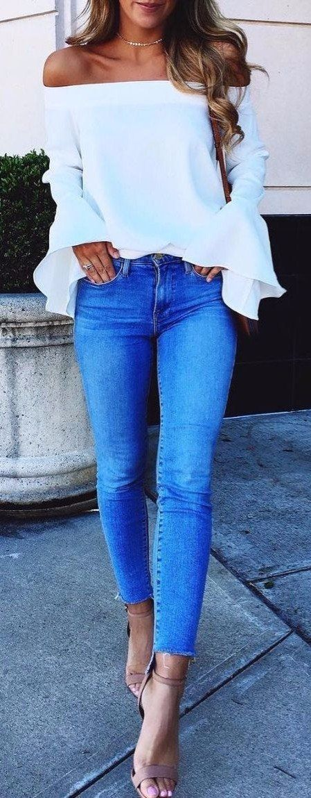 casual outfit idea - I already have jeans just like this. but i LOVE the shirt with them!! off the shoulder, white and flowy sexy clean sleeves. I want it!!