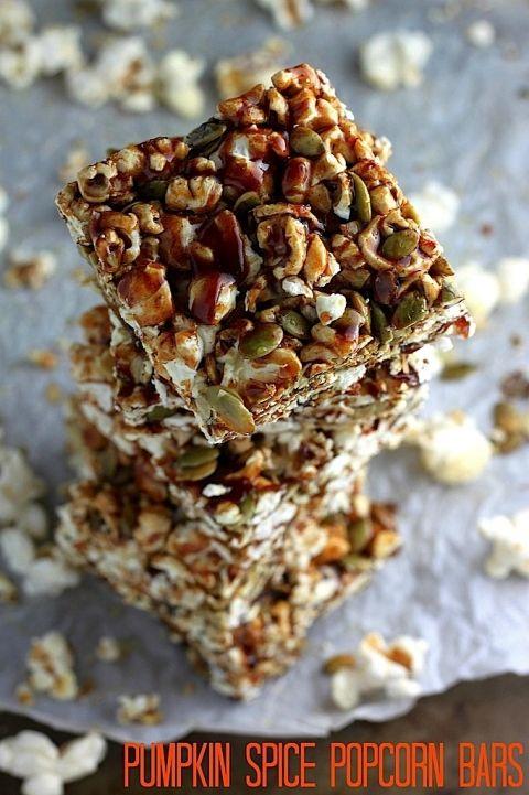 Healthy Pumpkin Spice Popcorn Bars
