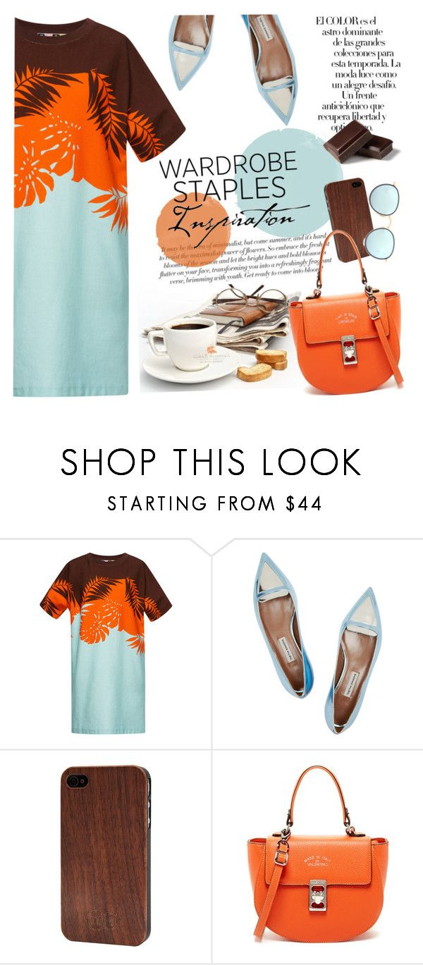 """""""Wardrobe Staple: T-Shirt Dress"""" by mada-malureanu ❤ liked on Polyvore featuring MSGM, Tabitha Simmons, Arco, TWO-O, Mario Valentino, Ray-Ban, valentino, shirtdress and tabithasimmons"""