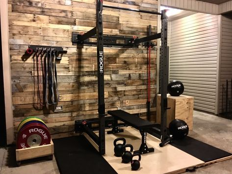 shiplap wall matte black rogue equipment  home gym