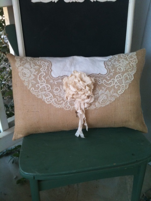 Burlap and Vintage lace Pillow OOAK by burlapheartstrings on Etsy, $26.00