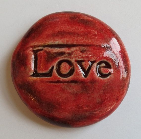 LOVE Pocket Stone  Ceramic  Oxblood Red Art Glaze by InnerArtPeace, $5.00: Inner Art, Art Peace, Red Art, Art Glaze