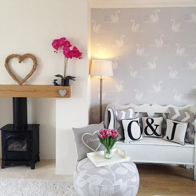 Laura Ashley Swan Wallpaper And Letter Cushions