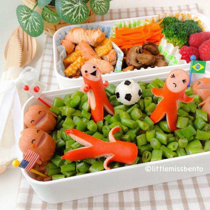 Little Miss Bento  シャリーのかわいいキャラベン: World Cup Soccer Bento ワールドカップ・サッカーのキャラ弁 #FunFoodFriday