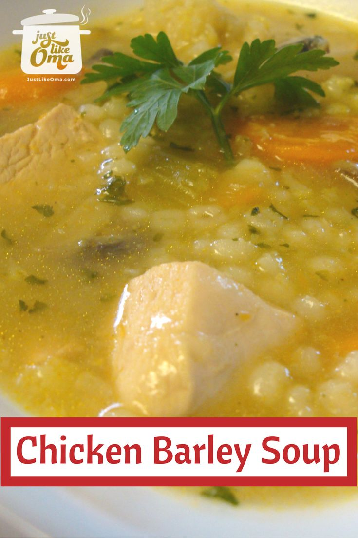 Chicken Barley Soup is such a filling comfort food. Here's my own version with chicken … lecker schmecker!    Here's how: http://www.quick-german-recipes.com/barley-soup-recipe.html  :heart:  it! Share it! :pushpin:it! Make it! Enjoy it!