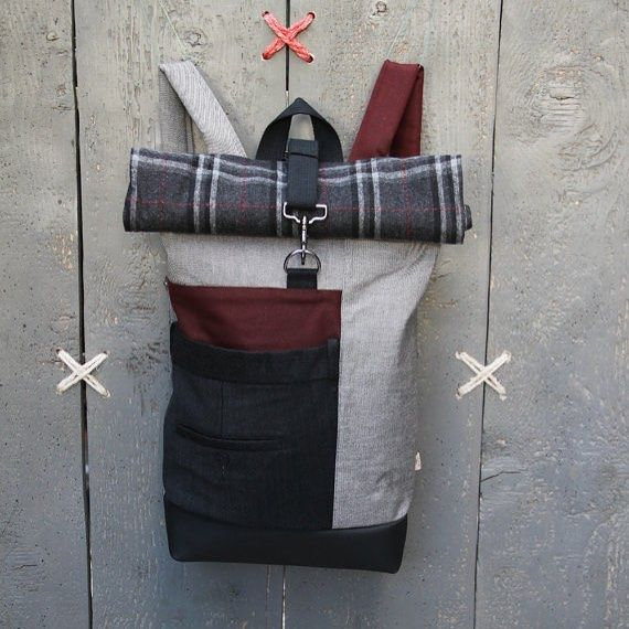 Grey and burgundy roll top rucksack, the back part of a men's suit trousers has been used on the front as a double pocket #eatingthegoober #backpack #rucksack #rolltop #upcycle #recycle #fashionbag