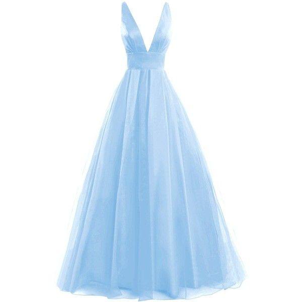 Amazon.com: Bess Bridal Women's Tulle Deep V Neck Prom Dress Formal... ($110) ❤ liked on Polyvore featuring dresses, gowns, gown, prom dresses, formal evening dresses, tulle bridal gowns, formal prom dresses and blue formal gown