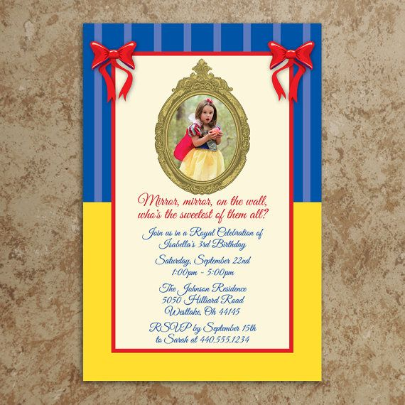 48 best snow white party images on pinterest | snow white parties, Birthday invitations