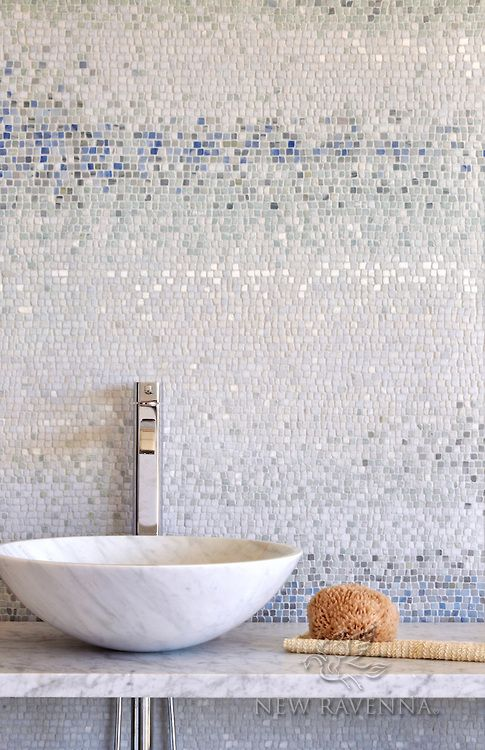Mist A Handmade Mosaic Shown In Tumbled Ming Green Kays Celeste