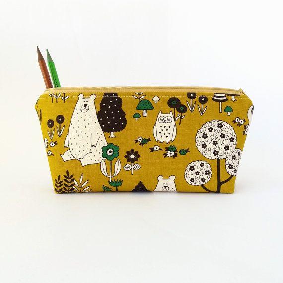 Pencil case Cute pencil pouch Student pencil by greylittlemouse