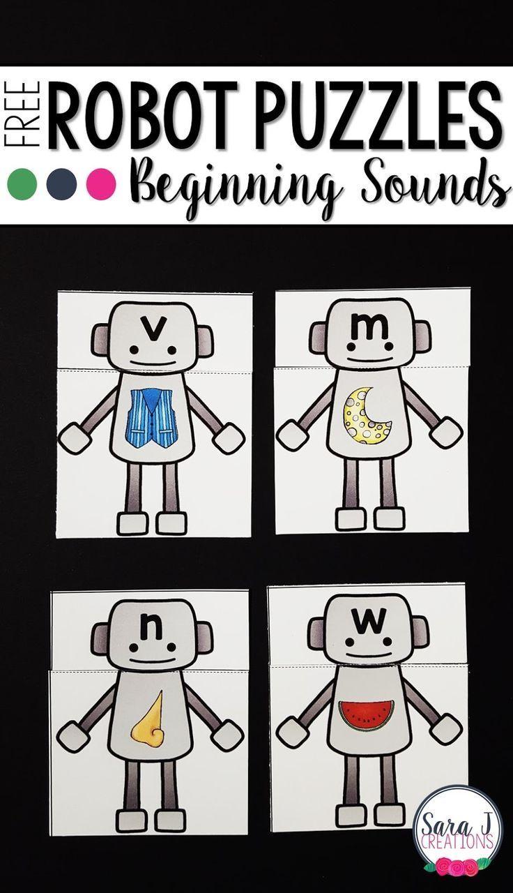Robot themed beginning sounds puzzles. Fun ABC game for preschool or kindergarten!