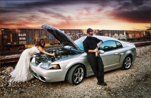 Wreck the dress, sexy bride & groom picture with the sti????