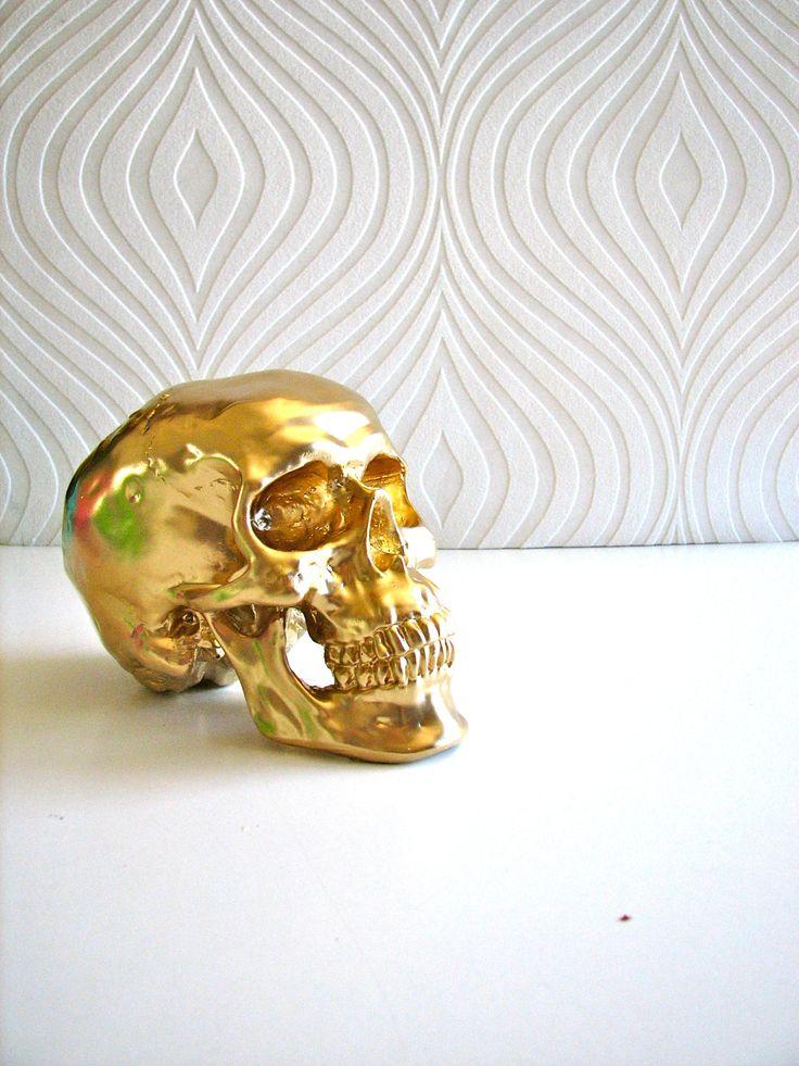 Skull Head in gold: Mr. Smiley. $25.00, via Etsy.