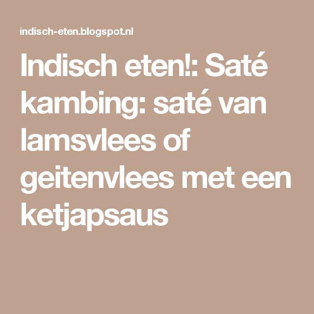 Indisch eten!: Saté kambing: saté van lamsvlees of geitenvlees met een ketjapsaus