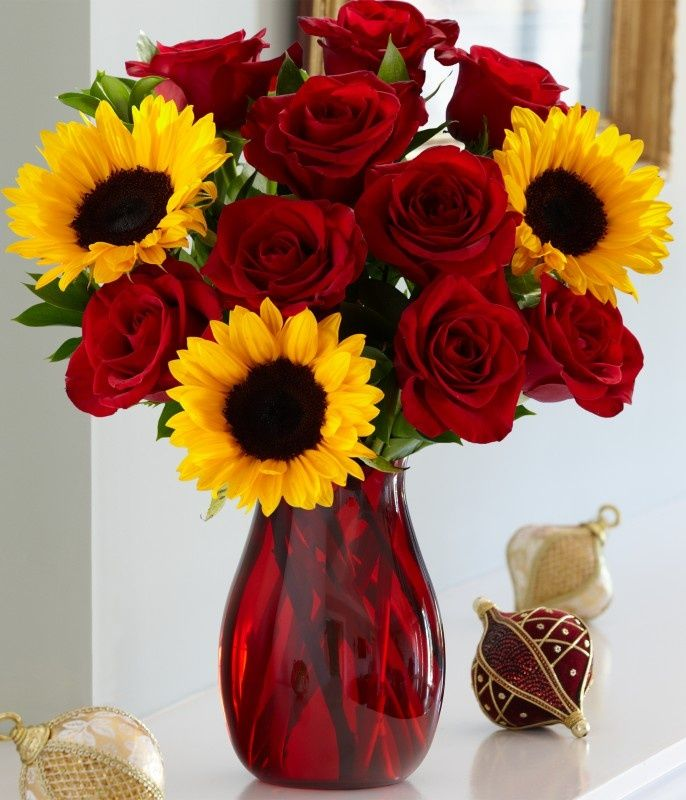 When Decorating This Holiday Season Consider Yellow And Red Sunflowers And Red Roses
