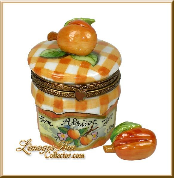 Apricot Jam Preserve Jar Limoges Box Exclusive by Beauchamp, Collectibles, Gifts, Limoges Boxes www.LimogesBoxCollector.com