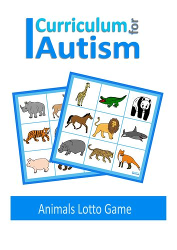 Animals Lotto Game, Autism, Special Education, ABA