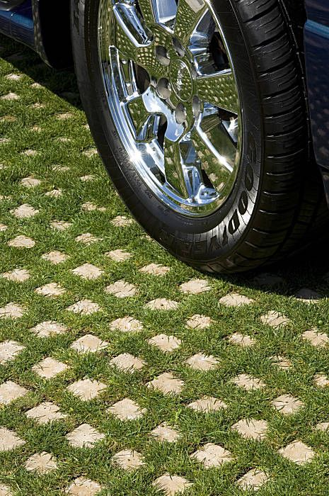 """Drivable Grass"" driveway system, would look so much nicer with out cottage style home than a traditional driveway!"