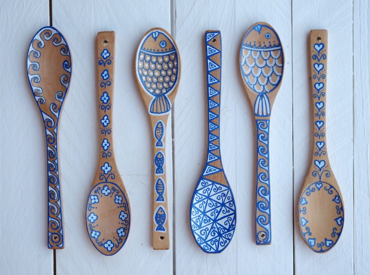 Painting Art Painted Wooden Spoons - Waves Flowers Fishes Hearts - website: www.kymastyle.com - shop: http://kymastyle.dawanda.com - http://facebook.com/kymastyle - http://instagram.com/kymastyle - http://twitter.com/kymastyle - contact 4 orders + infos: kymastyle@yahoo.com