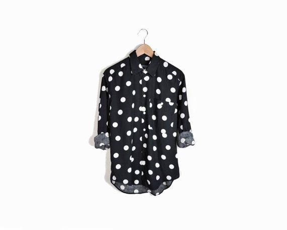 Vintage Black & White Polka Dot Oxford Shirt   at Twig & Spoke Vintage