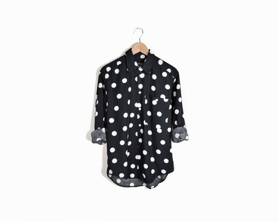 Vintage Black & White Polka Dot Oxford Shirt   at Twig & Spoke Vintage