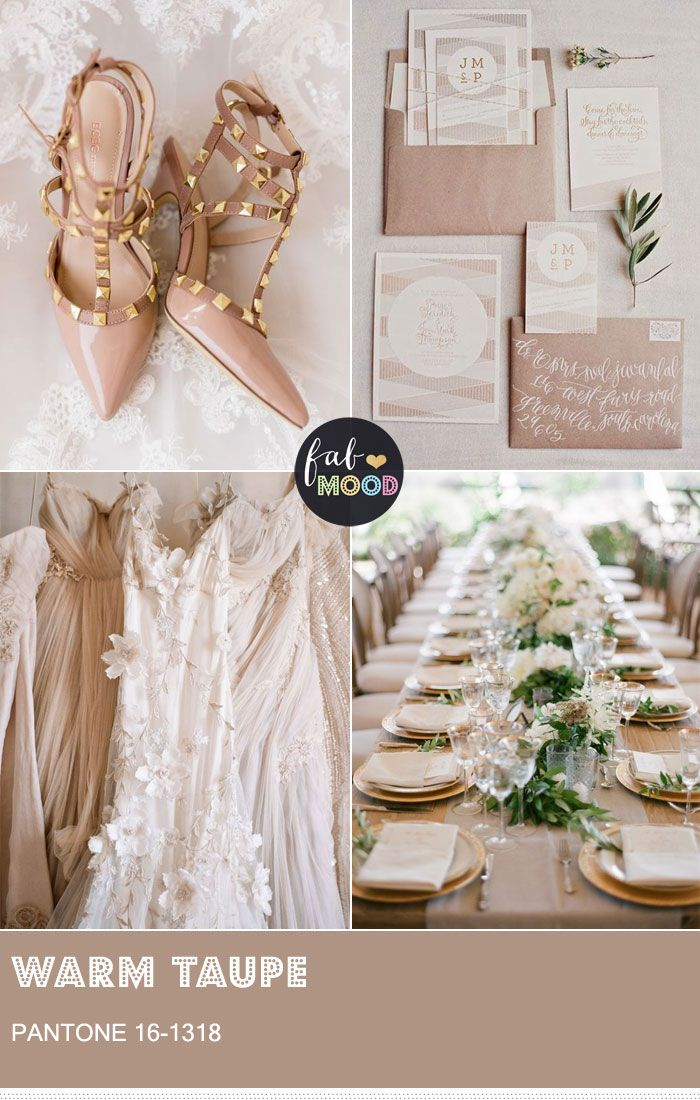 Pantone Warm Taupe is the perfect colour for a hearty, classic, timeless wedding theme that goes back to basics while still exuding a slight contemporary