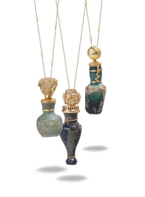 Jewelry designer Coomi Bhasin's namesake collection, Coomi, features something truly precious: 2,000 year-old Roman glass amphoras excavated from archeological sites lining the silk route. -- these are stunning, but I'm not sure I would trust myself to wear an ancient artifact!