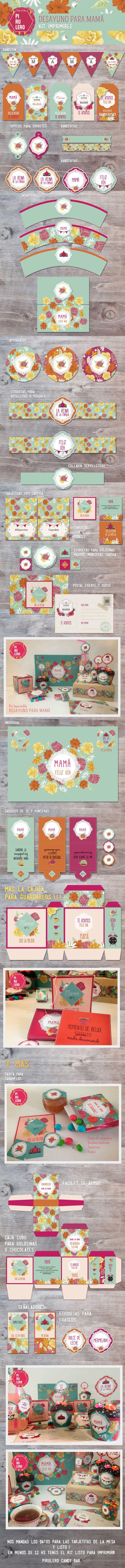 Dia de la madre - desayuno - kit imprimible #diadelamadre #mama #desayuno…