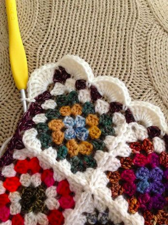 Tiny Granny Square Afghan Crochet made from leftover yarn scraps