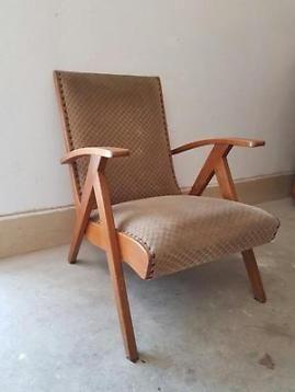 Vintage stoel, vintage fauteuil, oude stoel, deense stoel