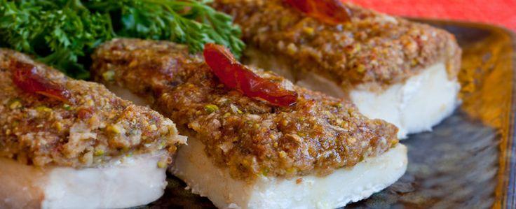Medjool date crusted halibut [Fantastisk godt hvis man elsker dadler som meg]