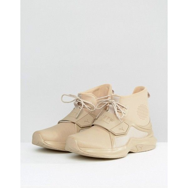 Puma X Fenty Sneakers (€160) ❤ liked on Polyvore featuring shoes, sneakers, beige, puma shoes, puma trainers, puma sneakers, beige sneakers and beige shoes