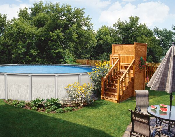 Raised platform deck for pool diy google search for for Above ground pool decks for small yards