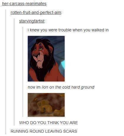 A retelling of an important scene from The Lion King, using pop song lyrics.
