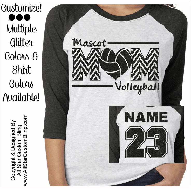 Glitter Volleyball Mom Chevron Tri-Blend Raglan, Custom Volleyball Raglan…