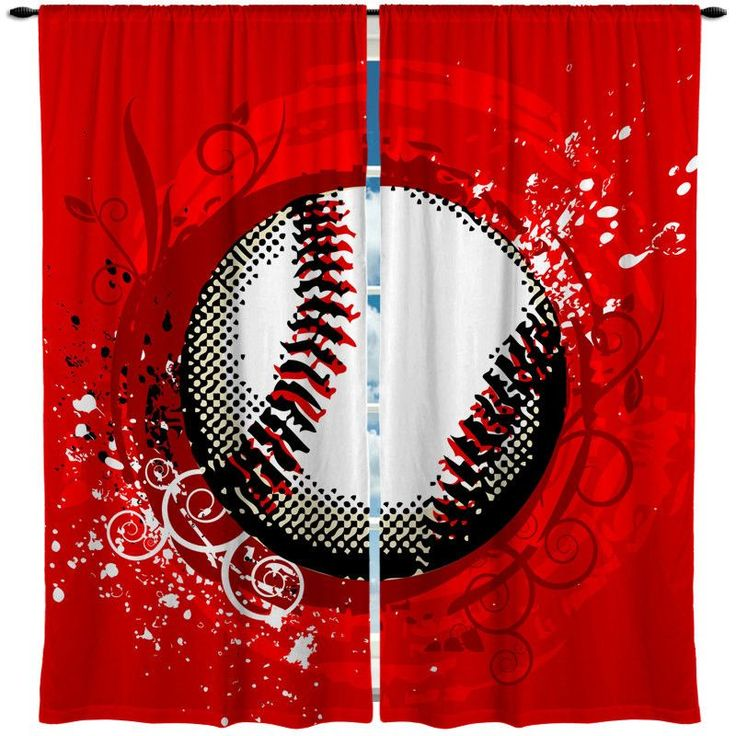 Custom Window Curtains - Made to Order - Any design - Any size Shown Baseball Theme - Red or Blue Options