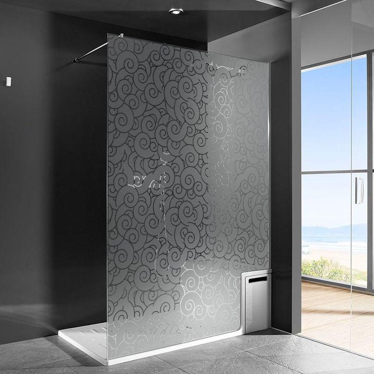 sticker dépoli pour occulter la paroi de douche avec un superbe motif de vagues tumultueuses.