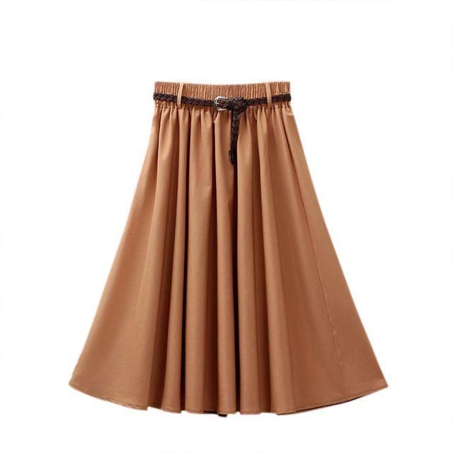 Women skirt high waist pleated knee length skirt vintage big bow side zipper skater skirts
