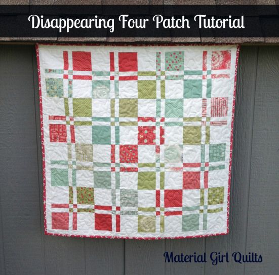 "Disappearing 4 Patch Baby Quilt: Made with 32 printed charms & 32 solid (white in this case) charms. 4x4 placement will create a 28"" top, add 6"" borders for a 40"" quilt. Also watch this YouTube video: http://www.youtube.com/watch?v=jA-10A_Uc6k"