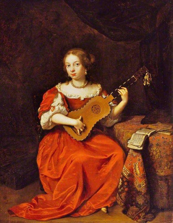 Caspar Netscher (Dutch Baroque Era Painter, c 1635-1684) - Lady Playing a Guitar…