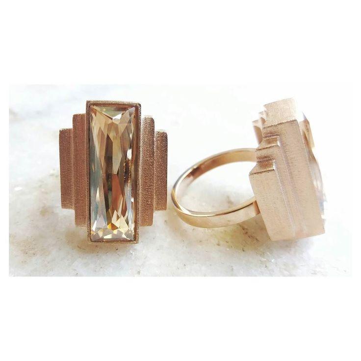 Raio X Anel art déco degraus [Compras via direct] #copella #anel #swarovski #prata925 #moda